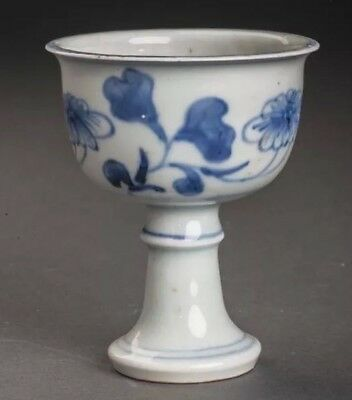 Brilliant Antique Blue and White Stem Cup China with 6 Character Chenghua Marks