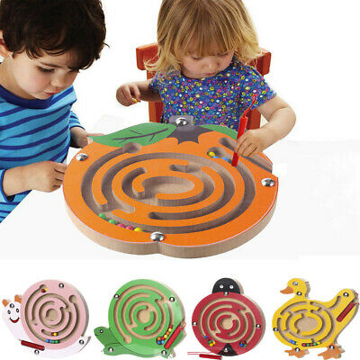 Kids Magnetic Maze Toys Children Wooden Funny Intellectual Jigsaw Board Game Toy