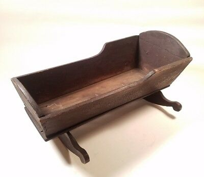 """19th Century Childs Doll Rocking Cradle Size -18"""" Long x 8"""" Tall Very Primitive"""