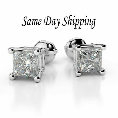 1.00 Carat Princess Cut Diamond Stud Earrings in Sterling Silver - Screw Back