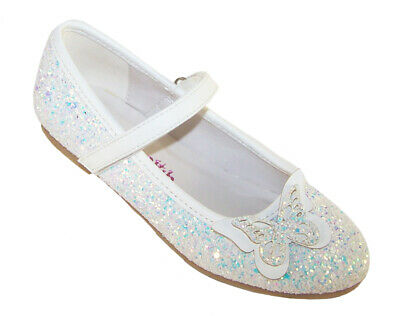 Girls Kids White Glitter Sparkly Ballerina Party Shoes Flower Girl Wedding Flat