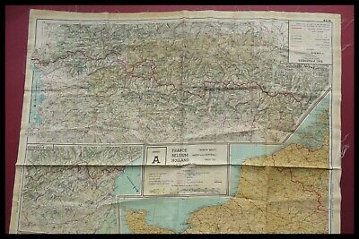 Wwii Pilots Raf Silk Escape Map France, Spain, Germany, Swiss D-Day 1944