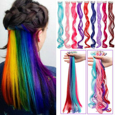 US 10 Peices Clip On Hair Extensions Colorful Long Hair Party Muti Color DW43