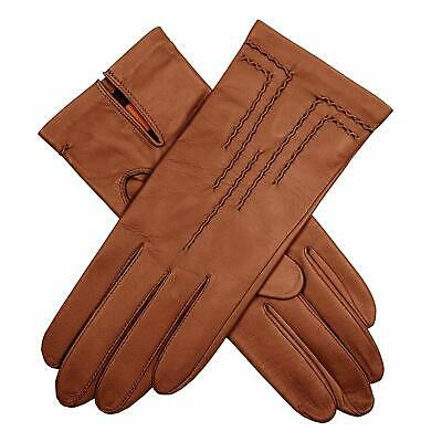 DENTS Women's Leather Gloves with Stitch Detail & Satin Lining Warm Winter