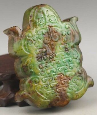 Chinese old natural jade hand-carved dragon pendant 2.7 inch