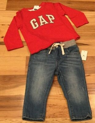 Baby Gap Red Joggers With Logo 6-12 Months Baby & Toddler Clothing Bottoms