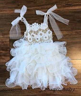 Baby Girls Flower Girl Lace Tie Knot Tulle Dress Birthday Party Gift Wedding