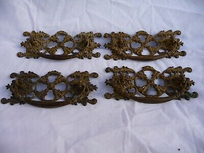Antique Set Of 4 Pierced Brass Chest Of Draw Handles Pull Architectural Pattern