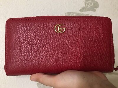 1e6b030b1df Auth Gucci GG Marmont Red Leather Zip Around Bifold Long Wallet NEW W Box