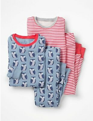 NEW Mini Boden Twin Pack Long Johns Pyjamas - Owl / Red Stripe - Age 7 (5, 6)