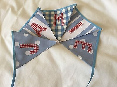 Cath Kidston blue    personalised bunting -CHRISTENING baby boy 5 flags £10
