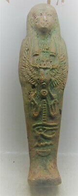 Beautiful Ancient Egyptian Glazed Ushabti Shabti With Heiroglyphics.