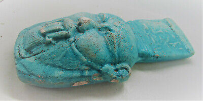 Large Ancient Egyptian Glazed Faience Face Of Pharoah