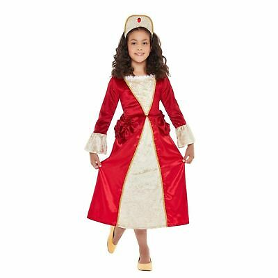 Girls Tudor Princess Queen Kids Book Day Fancy Dress Historical Costume Red