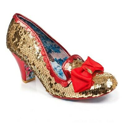 size 7 new lifestyle best price WOMENS IRREGULAR CHOICE Akonting Gold Red Bow Reversible ...
