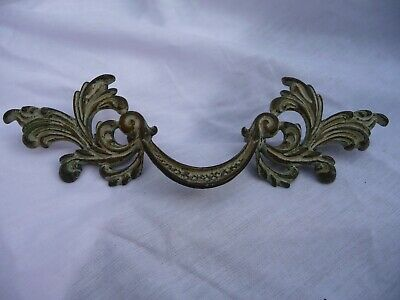 Small Vintage Single Brass Draw Handle Pull Floral Architectural Pattern Old