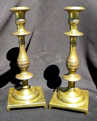 ANTIQUE CANDLESTICKS SABBATH 19th Century Polish Russian Solid Brass Pair HEAVY