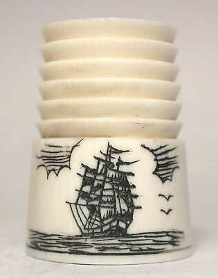 Beautifully Carved Thimble with Scrimshawed Sailing Ship on Water with Birds