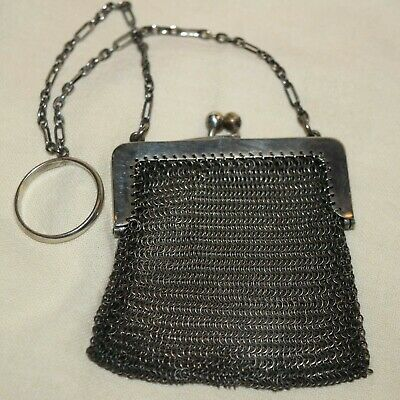 Antique Victorian Finger Ring Chatelaine Mesh Coin Holder Purse Sterling Silver