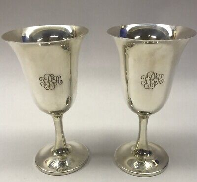 Lot Of 2 Vintage Wallace 925 Sterling Silver Goblets Wine Cup 11.6 oz & Wood Box