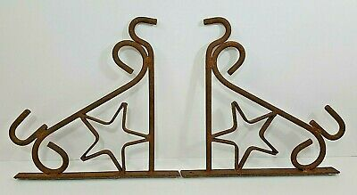 "Cast Iron Wall Plant Hanger Vintage Rustic - 11 1/4"" x 10 3/4"" - Set Of 2"
