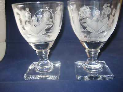 Pair Of Stunning Wheel Engraved Masonic Goblets - Pattern From An Early Goblet