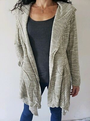 b934653d87f Womens Light Olive Green Knit Long Sleeve hooded open Front Cardigan Jacket