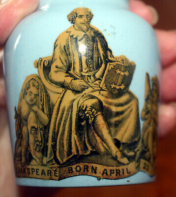 "RARE BLUE ANTIQUE SHAKSPEARE "" all the worlds a stage""  PRATTWARE POT"