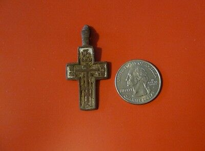 Ancient Russian Orthodox Cavalry Prayer Lead Cross pendant 17th-19th c #F