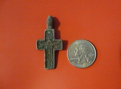 Ancient Russian Orthodox Cavalry Prayer Lead Cross pendant 17th-19th c #G