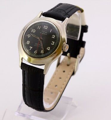Vintage TOW Swiss made Rosieres watch co mechanical men's wristwatch. Black dial