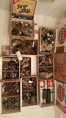 Vintage Lot of 9 Boxes of Radio? Parts, Resistors, Tubes, Capacitors, Knobs, Etc