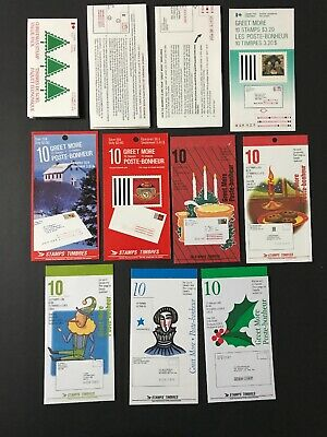 Canada Stamps MNH Christmas (11) Booklet Panes FV$37+ CV$136+ (1985-1995) Nice!