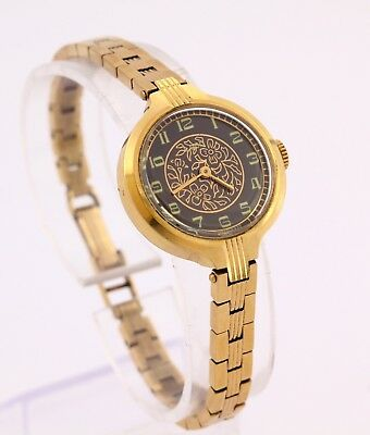 LUCH flowers women's ladies gold plated USSR Soviet watch. Cal. 1800, black dial