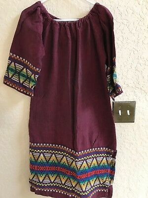 VINTAGE-Guatemalan Dress-Deep Wine/ 3/4 Sleeves Hand Woven details
