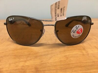 55d09caa41 Authentic Ray Ban RB 3519 029 83 Matte Gunmetal Brown Polarized 59mm  Sunglasses