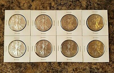 2019 1 Oz Silver American Eagle Coins - Group Lot Of 8 - Gem Bu
