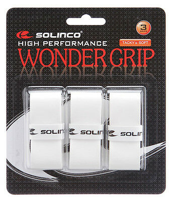 3 Solinco Wonder Grips/Overgrips - White - Free P&P