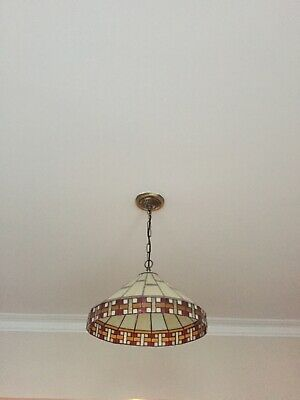 Art Deco Style  Stained Glass Ceiling Lightshade With Matching Desk Lamp