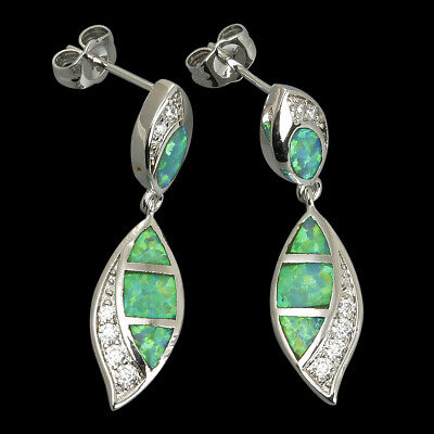 Kiwi Green Fire Opal CZ Marquise Silver Jewellery Drop Pierced Earrings