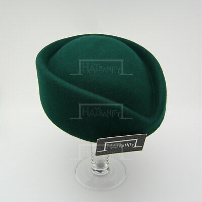 VINTAGE Wool Felt Ladies Pillbox Hat Women Fascinator Stewardess DIY | Green