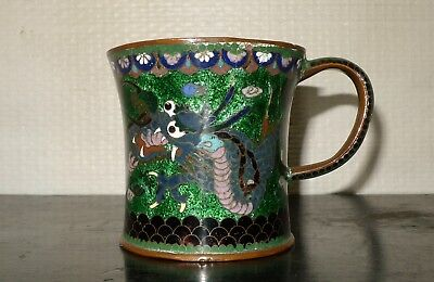 ANCIENNE TASSE DRAGON CUIVRE EMAILLE CHINE XIXe ANTIQUE ENAMELED MUG CHINESE