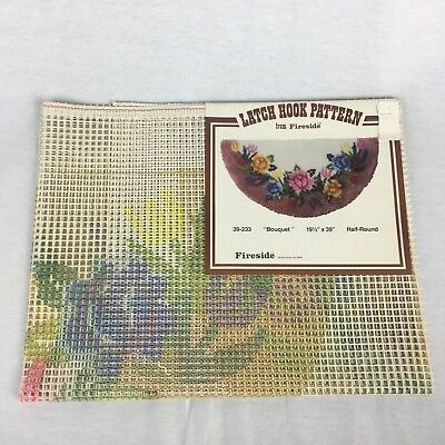 Vintage Latch Hook Pattern By Fireside 39233 Bouquet Half Round PATTERN ONLY