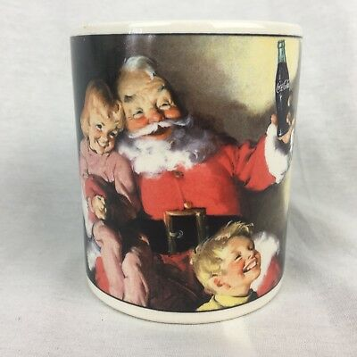 Coca Cola Santa Christmas Coffee Mug Surrounded by Happy Kids & Poodle 2002