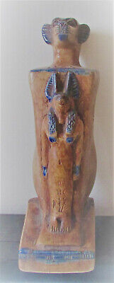 Beautiful Ancient Egyptian Stone Statue Anubis And Bastet Glazed W/heiroglyphics