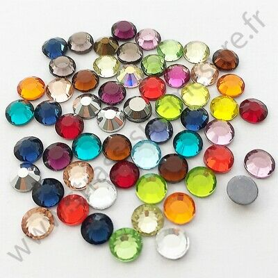 Strass thermocollant rond hotfix MULTICOLORE, 2mm, 3mm, 4mm, 5mm, 6mm au choix