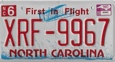 2009 Red Letter North Carolina License Plate  # Xrf 9967  Aviation
