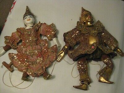 Puppets,, 2 Ornate Thai Hand Puppets