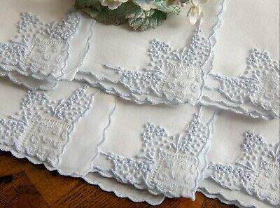 Fine Set of 6 Blue/ White Embroidered Madeira Luncheon Cocktail Napkins