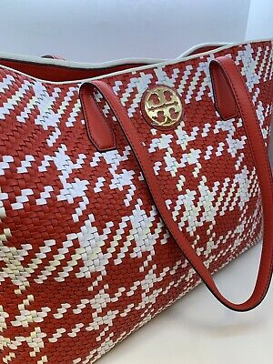 8c380e2e48d NWT TORY BURCH Duet Woven Leather Tote - Royal Navy Green Ivory MSRP ...